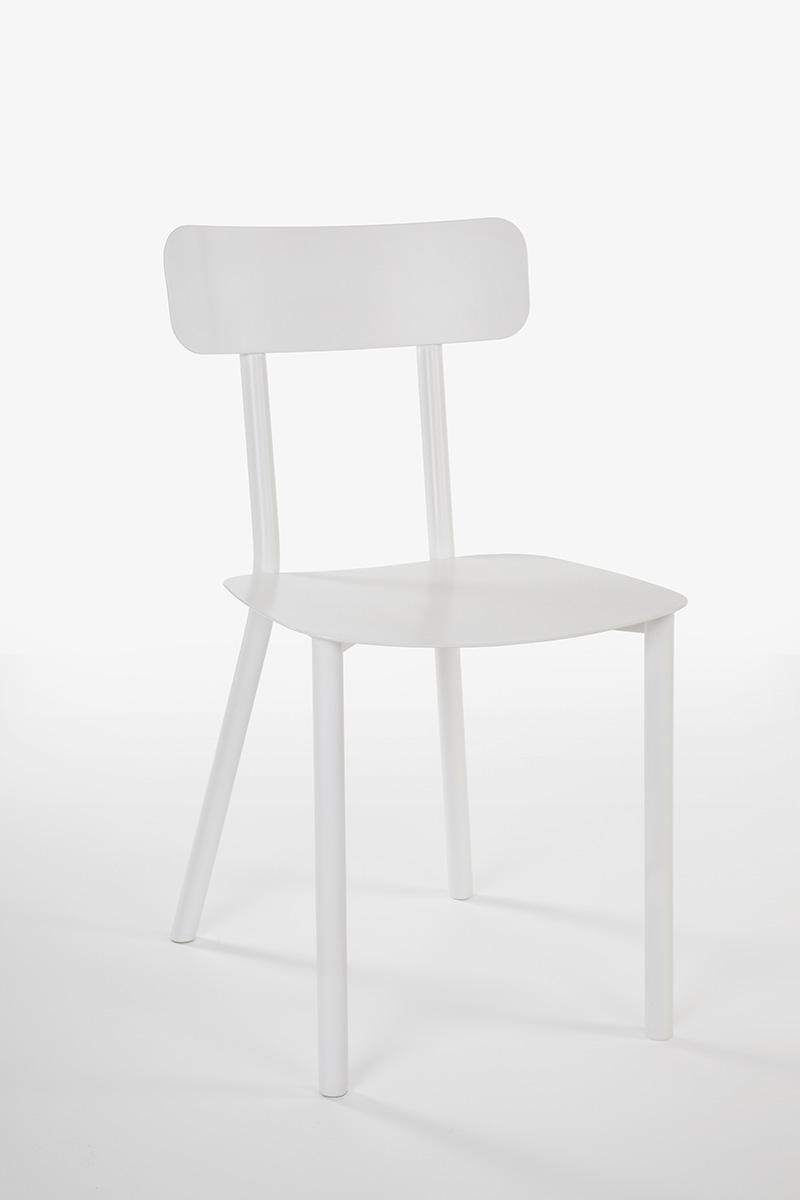 sedia design alluminio bianca