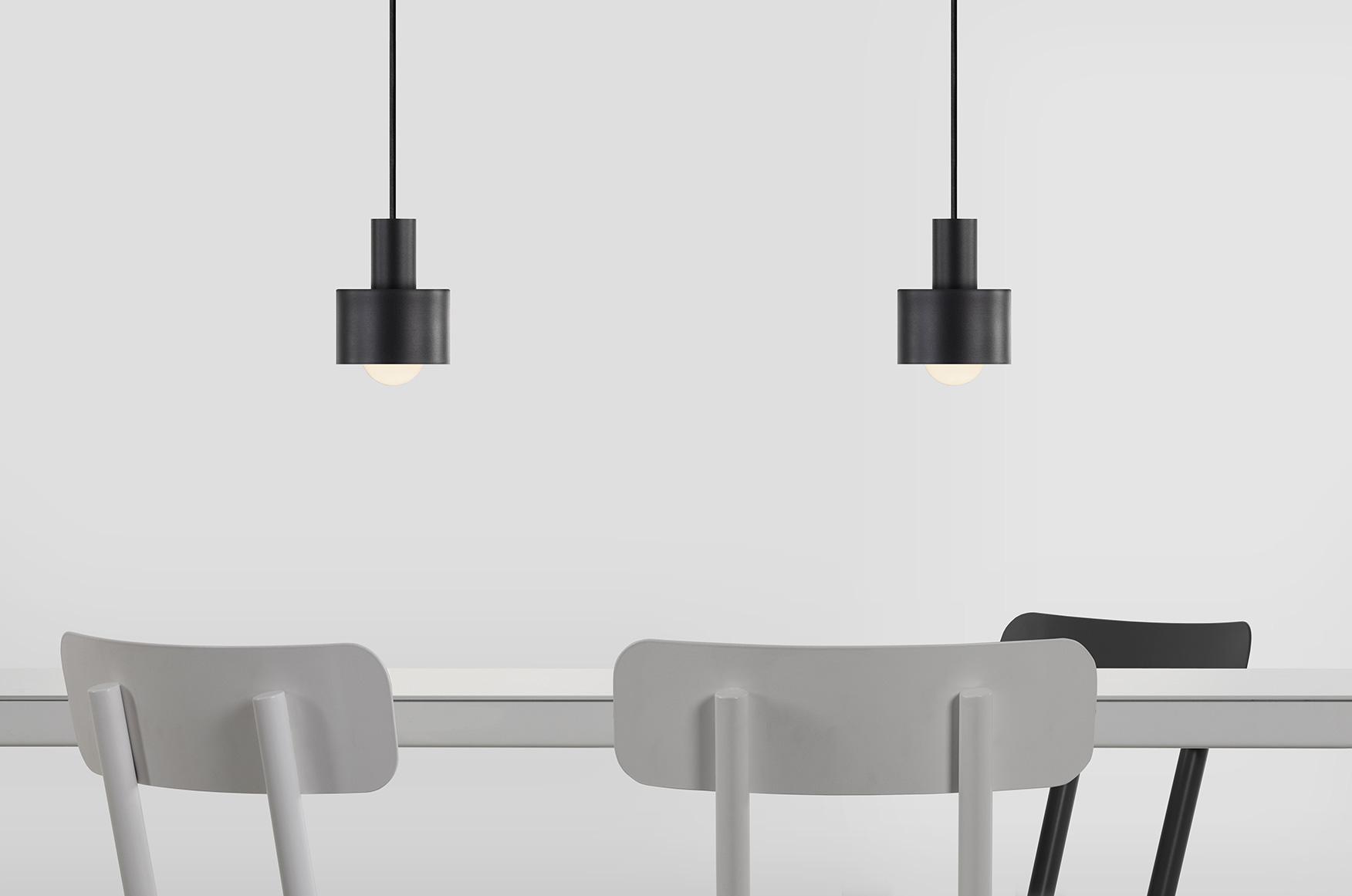 Stipbystip Milan black cylinder metal pendant light