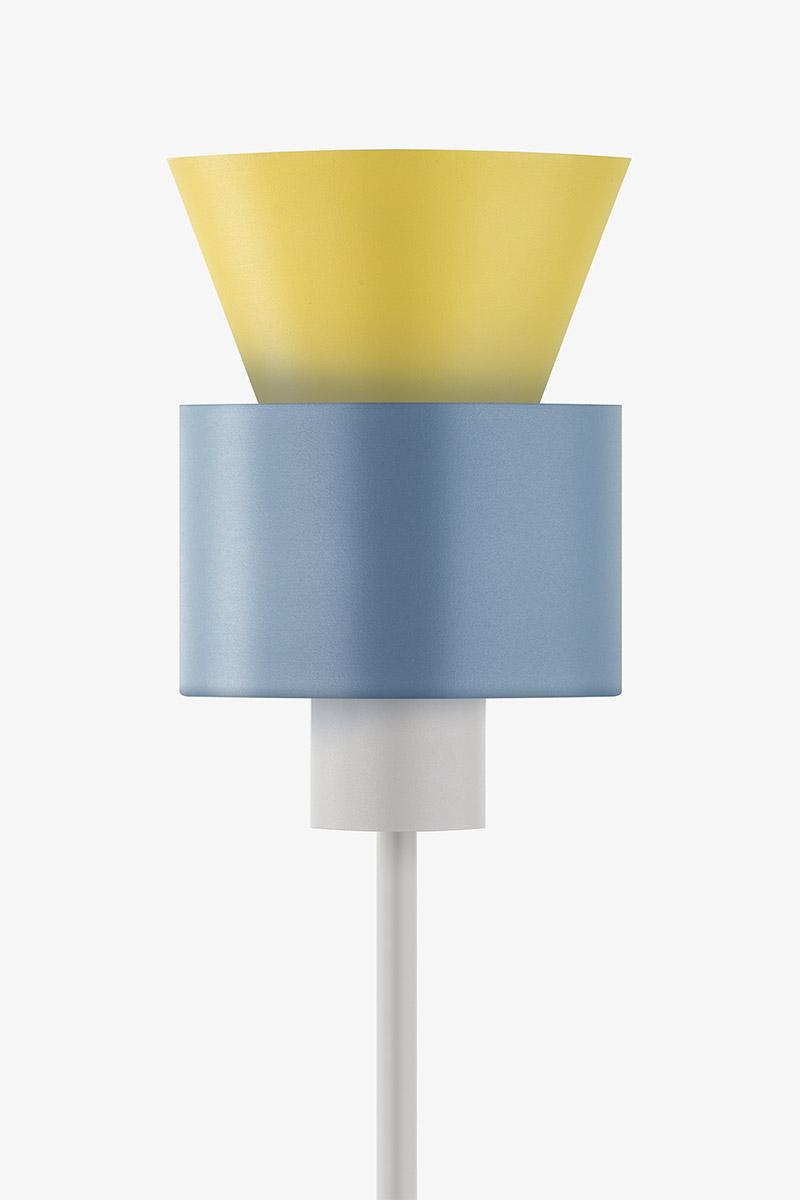 original geometric yellow blue metal floor lamp