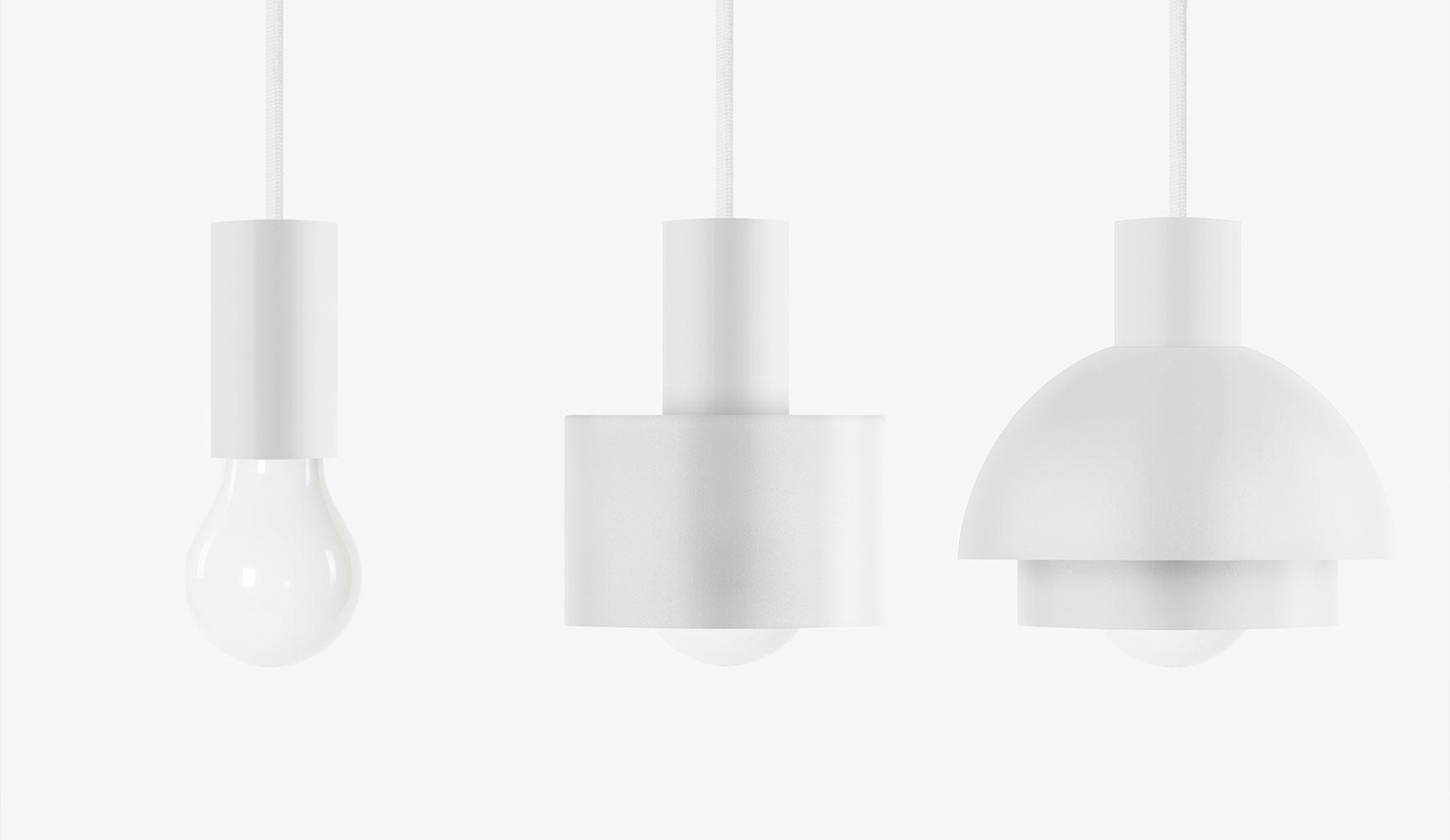white combinable geometric shapes metal pendant lights