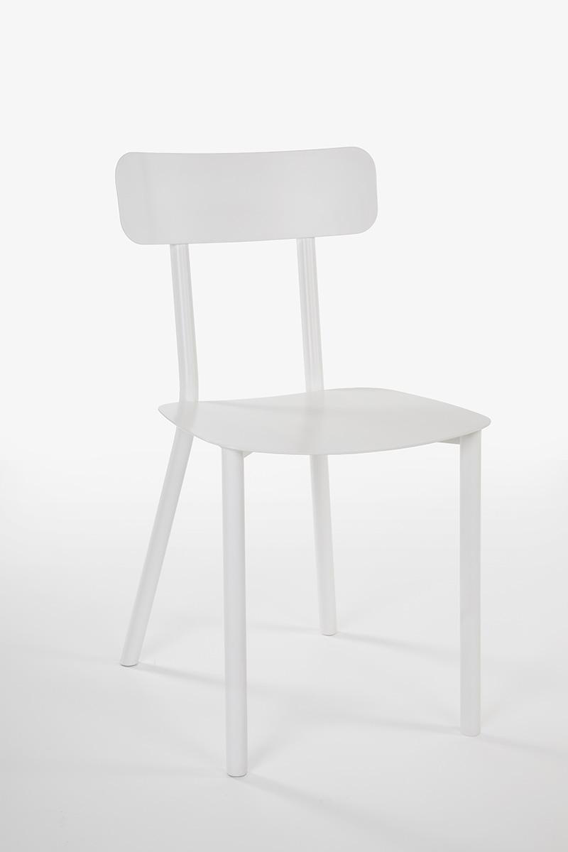 sedia metallo bianca