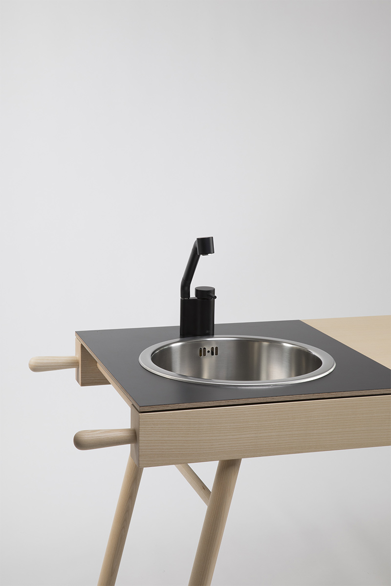 black wood portable kitchen