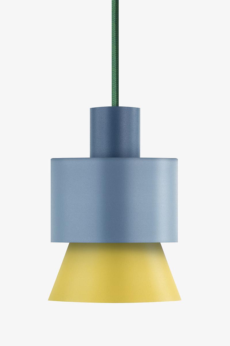 yellow blue metal pendant light