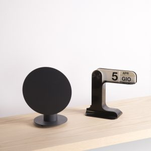 black design table lamp with round screen